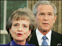Former White House counsel Harriet Miers and President George W Bush