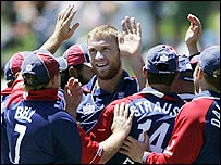 Andrew Flintoff and his England team bowled well to contain the Kiwis