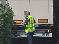 Lorry stuck in village