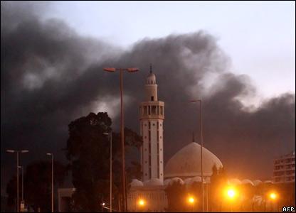 Smoke billows over Beirut's skyline