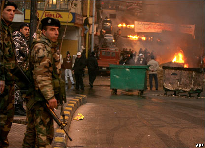 Soldiers stand on the streets in Beirut