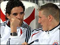 Owen Hargreaves with Bayern Munich team-mate Bastian Schweinsteiger