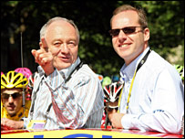 London mayor Ken Livingstone accompanies race director Christian Prudhomme