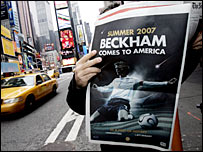 An advert for David Beckham's arrival in the US