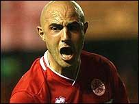 Massimo Maccarone celebrates a rare goal for Middlesbrough