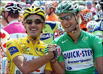 Race leader Fabian Cancellara (left) and points leader Tom Boonen