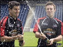 Hugo Southwell and Mike Blair celebrate a sponsorship deal before the dispute