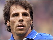 A-Line All-Stars striker Gianfranco Zola