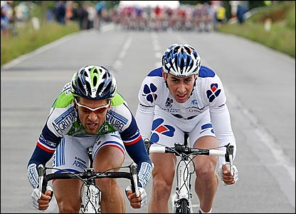 French duo Nicolas Vogondy (left) and Matthieu Ladagnous break from the peloton