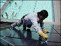 Solar panels are fitted to the roof of Sebastopol's swimming pool