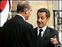 Jacques Chirac (left) and Nicolas Sarkozy