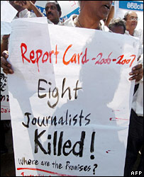 Sri Lankan journalists protest in Colombo