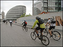Cyclists near the GLA