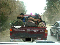 Taleban militants on truck