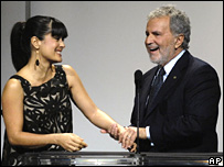 Salma Hayek and Academy President Sid Ganis