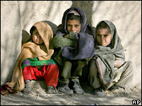 Afghan children outside a non-Taleban school in Sparwan Ghar