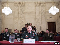 US Army Lt Gen David Petraeus before giving testimony to the Senate Armed Services Committee in Washington