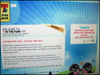 T in the Park website