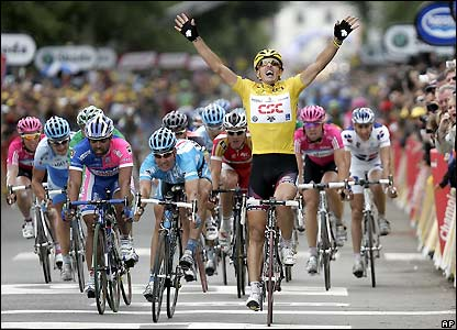 Fabian Cancellara celebrates winning the stage