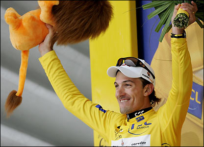 Fabian Cancellara on the podium after winning the stage