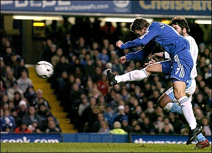Andriy Shevchenko scores his and Chelsea's second goal against Wycombe