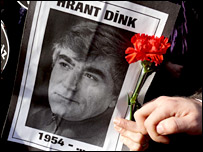 Hrant Dink's image on a poster