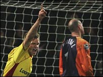 Jay DeMerit celebrates scoring Watford's winner