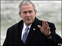 President Bush returning to the White House from Camp David on 22 Jan 2007