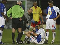 Robbie Savage was injured during Blackburn's defeat at Watford