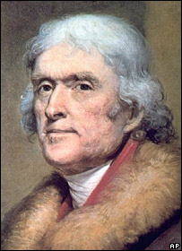 Portrait of Thomas Jefferson by the artist Rembrandt Peale  Image: AP