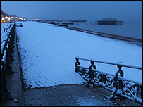 Snow on Brighton beach (picture taken by Richard Eason)