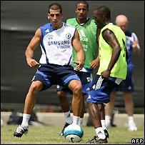 Chelsea players practising