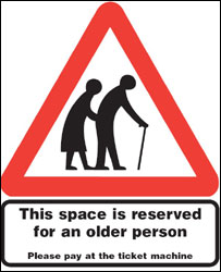 Older person parking bay sign