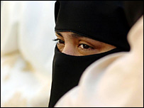 Muslim woman wearing a niqab