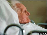 Elderly man in a care home
