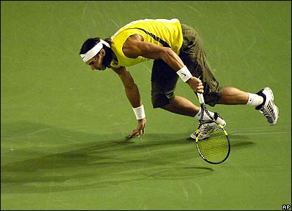 Nadal stumbles on the court