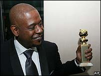 Forest Whitaker with the Golden Globe for Best Actor