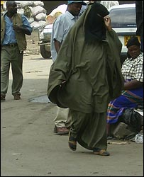 Muslim woman (not a prostitute) dressed in a buibui