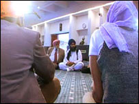 A Sikh temple meeting to discuss domestic violence