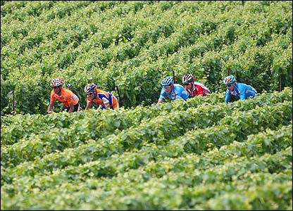 Gorka Verdugo, Juan Antonio Flecha, Christian Knees, Sylvain Chavanel and Matthieu Sprick ride past vineyards during their breakaway