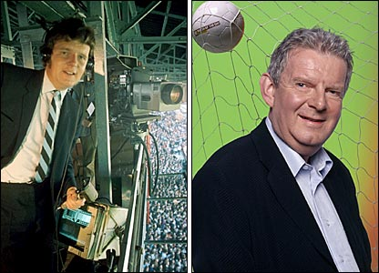 BBC Sport's John Motson in 1971 (left) and in 2005