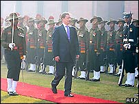 Russian Defence Minister Sergei Ivanov inspects an army parade in India