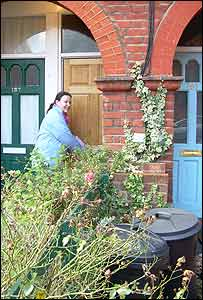 Claire Palmer delivering leaflets