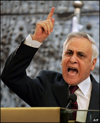 President Moshe Katsav gesturing during press conference