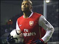 Julio Baptista after scoring his second at White Hart Lane