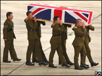 A soldier's coffin being carried