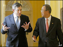 UK Prime Minister Gordon Brown and UN Secretary General Ban Ki-moon in London