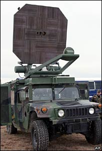 The heat-ray gun mounted on a Humvee vehicle