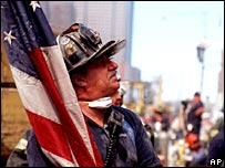 A US firefighter at Ground Zero in New York on 12 September 2001