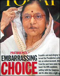 Magazine cover featuring Pratibha Patil